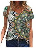 CuteRose Women Summer Floral Printed Short Sleeves Blouse V-Neck Fashion Tees Top 10 M