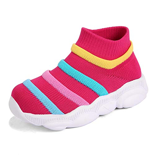 KRIMUS Toddler Baby Sneaker for Girls Boy Ankle high top Sock Athletic Running Walking Casual First Walkers Shoes Pink