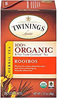 Twinings of London Organic and Fair Trade Certified Rooibos Herbal Tea Bags, 20 Count (Pack of 6)