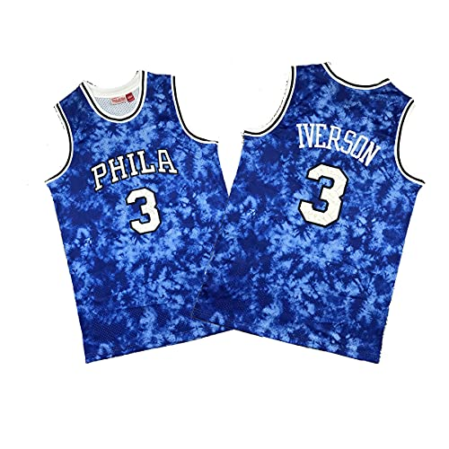 CYYX Jersey Men's, NBA Filadelfia 76ers # 3 Allen Iverson Classic Jersey, Tejido Fresco Transpirable, Fan de Baloncesto Unisex Sin Mangas Sports Chaleco Top,1,XXL