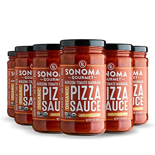 Sonoma Gourmet Heirloom Tomato Pizza Sauce | Made With Fresh Organic Tomatoes & Sweet Basil | Vegan & Gluten-Free | No Sugar Added | 12 Ounce Jars (Pack of 6)
