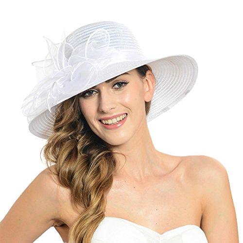 Damen Eichen Derby Kirchen Kleid Britischen Tee Party Hochzeit Hüte S052 (Weiß)
