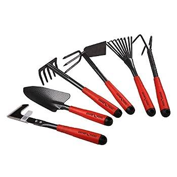 FLORA GUARD 6 Piece Garden Tool Sets - Including Trowel,5-Teeth rake,9-Teeth Leaf rake,Double Hoe 3 prongs Cultivator Weeder Gardening Hand Tools with High Carbon Steel Heads