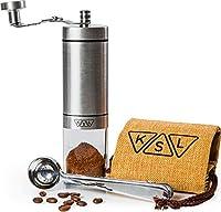 KSL 手動コーヒーグラインダー - セラミックバール - ポータブルハンドスチールフレンチプレス エスプレッソ トルコ - 調節可能な設定 - 円錐形手持ちミニコーヒービーンミル 旅行&キャンプ用