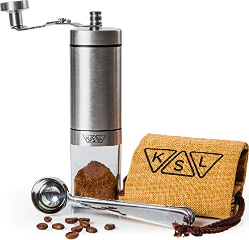 KSL Manual Coffee Grinder - Ceramic Burr - Portable Hand Steel French Press for Espresso, Turkish - Adjustable Settings - Conical Handheld Mini Coffee Bean Mill w/crank handle for Travel & Camping
