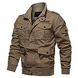 KEFITEVD Hommes Automne Bomber Cargo Vestes Vintage Militaire Flight Jacket Coupe-Vent Chasse Manteaux avec 7 Poches Kaki