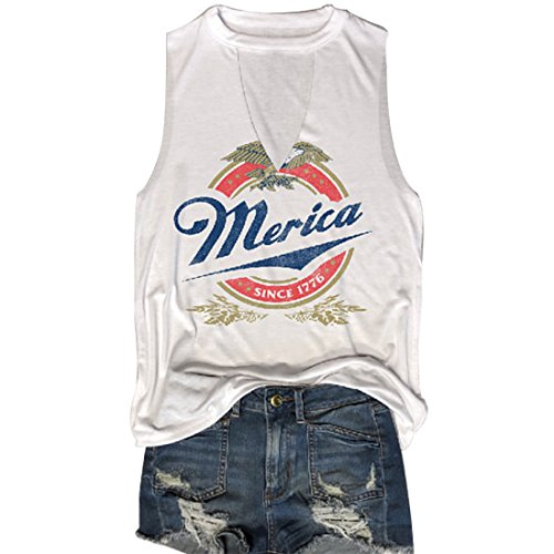 MK Shop Limited Women Merica Since 1776 Tank Sleeveless Racerback Tanktops Vest T-Shirt (White1, S)