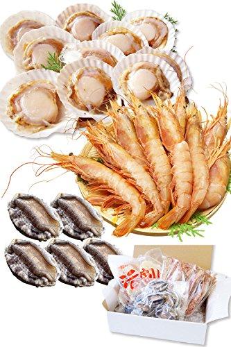 海鮮 詰め合せ 3種 セット 片貝 ほたて 10枚・赤 えび 10尾・ あわび 5個【冷凍】 バーベキューセット海鮮セット bbq バーベキュー ホタテ 越前宝や