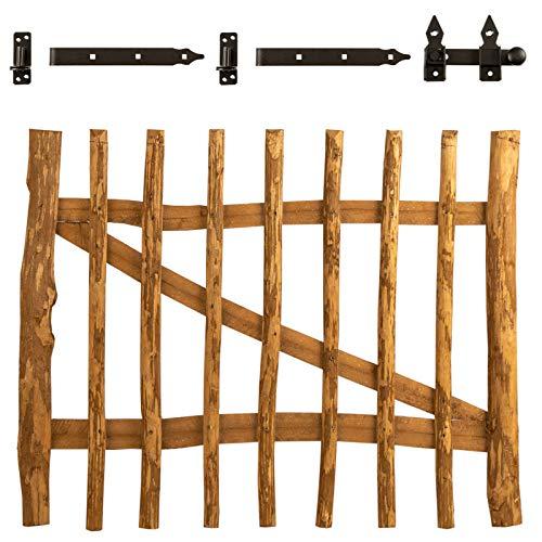BooGardi Tuinhek, hazelnoot, geïmpregneerd, houten hekpoort, voor hekwerk, in 14 maten, hekpoort voor hek, boerenhek, kastanhek, incl. accessoires Lattenabstand: 7-9 cm bruin