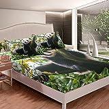 Juego de sábanas con diseño de oso panda para niños y niñas, diseño de oso panda impreso, juego de sábanas con diseño de zoológico, 3 unidades