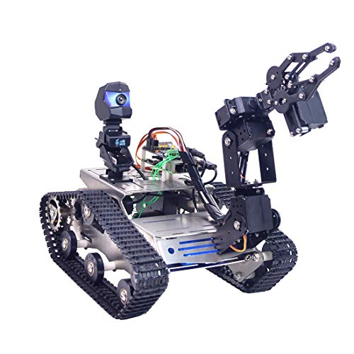Foxom Programable Robot para Arduino Mega, Smart Robot Car Kit con Arm, WiFi, módulo Bluetooth, FPV, Camara HD - Compatible con Arduino / Raspberry Pi
