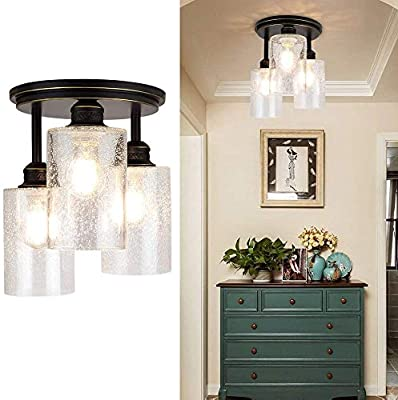 DLLT Industrial Semi Flush Mount Light Fixture, 3-Light Vintage Ceiling Light with Clear Seeded Glass Shade, Chandelier Lighting for Hallway, Kitchen, Dining Room, Entryway, Bedroom, E26 Base-Gold