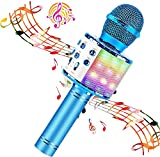 BlueFire Wireless 4 in 1 Bluetooth Karaoke Microphone with LED Lights, Portable Microphone for Kids, Best Gifts Toys for Kids, Girls, Boys and Adults (Blue)