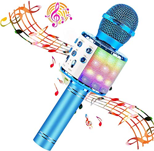 BlueFire Wireless 4 in 1 Bluetooth Karaoke Microphone with LED Lights, Portable Microphone for Kids,...
