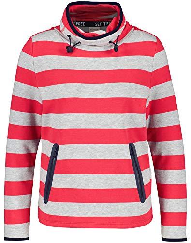 Taifun Damen Sweatshirt Mit Streifen-Dessin Figurumspielend Tomato Ringel 46