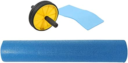Exercise Roller Wheel and a Knee pad, AL225 with Pvc Yoga Mat, Blue, Mf116-2-Blu1