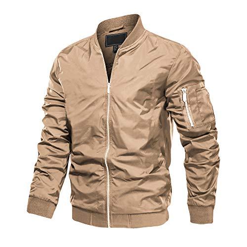 MAGCOMSEN Herren Bomberjacke Übergangsjacke College Jacket Fliegerjacke Polyester Jacken für Männer Leicht Blouson Multi Taschen Armeejacke Feldjacke Khaki M (Etikett: L)