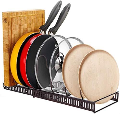 Topfdeckelhalter Pan Lagertack Heavy Duty Pan Organizer Holds Gusseisen Koteletts Backofen Riddles Platz sparen Küchenaufbewahrung (Color : Brown, Size : 30-58x18x18cm)