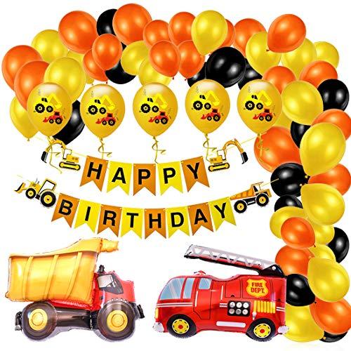 Bagger Geburtstag Deko, BAU Geburtstagdeko, Baustelle Kindergeburtstag Party Dekoration, Happy Birthday Banner, Baufahrzeug Feuer Auto Folienballons, Bagger Luftballons, Geburtstagdeko Jungen