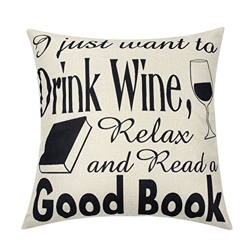 Ogiselestyle I Just Want to Read A Good Book Motivational Sign Cotton Linen Home Decorative Throw Pillow Case Cushion Cover with Words for Book Lover Sofa Couch 18' x 18'