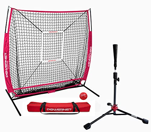 PowerNet 5x5 Practice Net + Deluxe Tee + Strike Zone + Weighted Training Ball Bundle   Baseball Softball Coaching   Work on Pitch Accuracy   Build Confidence at The Plate (Red)