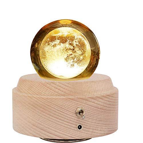 オルゴール クリスタル ボール 木製手作りかわいい おしゃれ間接照明 LEDライト USB充電式投影ボール インテリア かわいい 癒しグッズ 誕生日プレゼント記念日 出産祝いなどの場合に最適! (月)