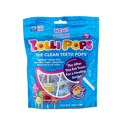 Zollipops Clean Teeth Lollipops | Anti-Cavity, Sugar Free Candy with Xylitol for a Healthy Smile - Great for Kids, Diabetics and Keto Diet (3.1 oz Bag)