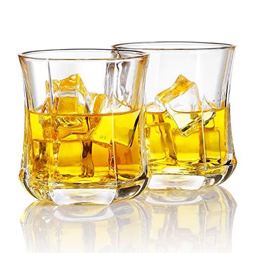 Homii Vasos de Whisky, Juego de Vasos, Vasos de Agua, Vaso de Vidrio Transparente sin Plomo, Accesorios de Vino para Whisky, Cócteles, Jugo, Juego de 2 Vasos, 300ml/12oz