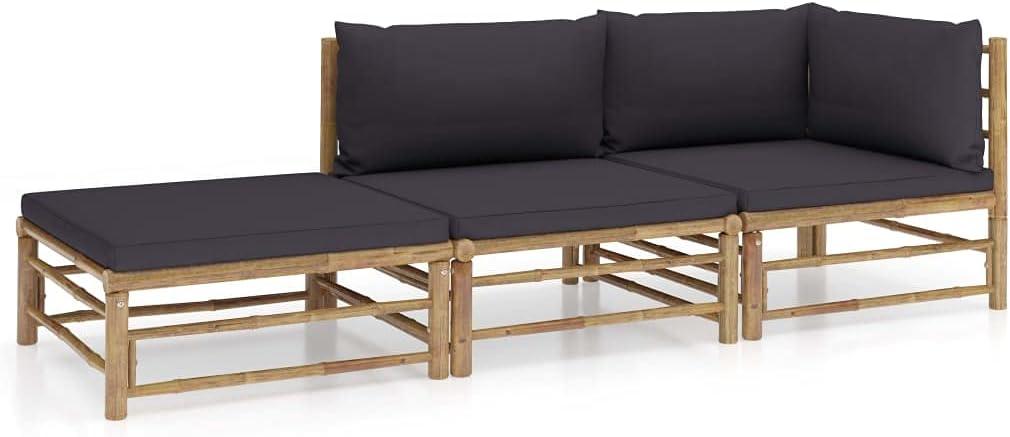 vidaXL Garden Lounge Set 3 Piece with Dark Outdoor Bargain Cushions Gray 1 year warranty