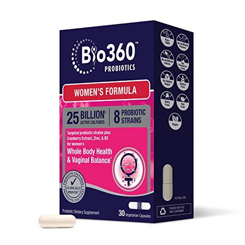 Bio360 Probiotics for Women | Vaginal & Digestive Health | Targeted Womens Daily Care Formula | Cranberry, Zinc and Vitamin B2 | 30 Vegan Woman Supplements