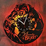 Beauty and The Beast Romantic Story Night Light Wall Lights Vinyl Record Wall Clock Modern Wall Decor Idea Home Design Amazing Gift for Her Anniversary Gift Idea