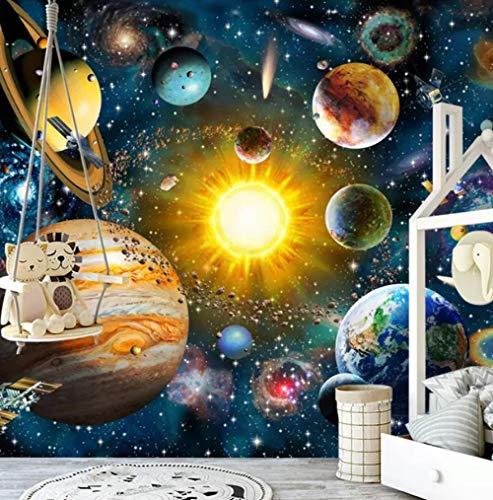 3D-achtergrondfoto, wandfoto, landschap, woonkamer, slaapkamer, 3D fotobehang, kinderslaapkamer, modern, met de hand geschilderd, cartoon universum ster sky planet kinderkamer muurfoto achtergrond muur 350*245 350 x 245 cm.