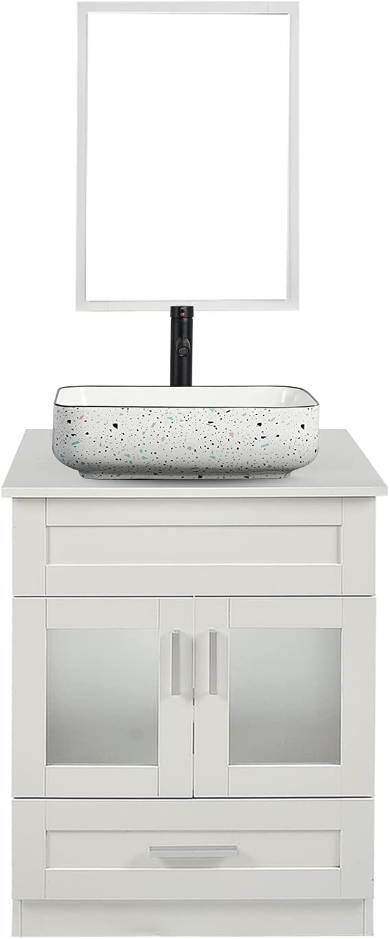 24 Inches Traditional Bathroom Vanity Single Set White a Cabinet Long-awaited Free shipping / New