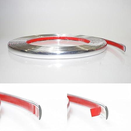 7mm X 5 Meter Chrom Zierleiste Leisten Chromleiste Selbstklebend Flexibel Kunststoff Tuning Auto
