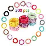 Joeleli 500 STÜCKE Baby Haargummis Multicolor Elastische Haarbänder Kleine Größe Pferdeschwanz Inhaber Haarbänder für Babys Kinder