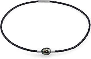 THE PEARL SOURCE Genuine Black Tahitian South Sea Cultured Pearl Braided Leather Necklace for Women