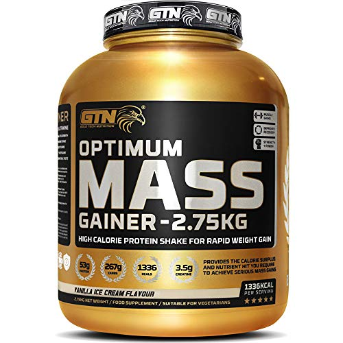 Gold Tech Nutrition Optimum Mass Gainer Protein Powder High Calorie Mass Gainer with Vitamins, Creatine Monohydrate and Glutamine. 2.75 kg. (Vanilla)