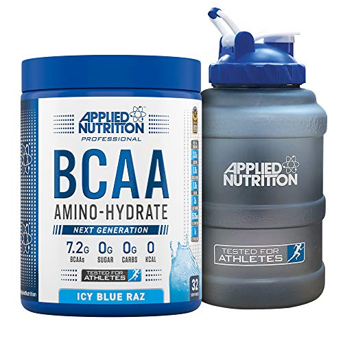 Applied Nutrition Bundle: BCAA Amino Hydrate Powder 450g + 2.5 LTR Water Jug | Branched Chain Amino Acids Supplement with Electrolytes, B Vitamins, Intra Workout & Recovery Drink (ICY Blue Raz)