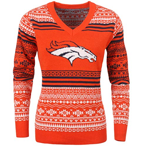 FOCO NFL女性大标志阿兹特克v领毛衣,丹佛野马小