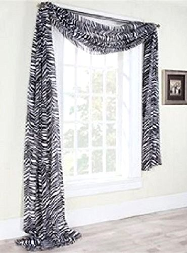 Gorgeous HomeDIFFERENT SOLID COLORS AND ALSOANIMAL PRINT 1PC SCARF VALANCE SOFT SHEER VOILE WINDOW TOPPER SWAG PANEL CURTAIN 216' LONG (GRAYISH ZEBRA)