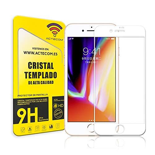 ACTECOM® Protector Pantalla Compatible con iPhone 7 / iPhone 8 Completo 3D 5D Blanco Cristal Templado Completo