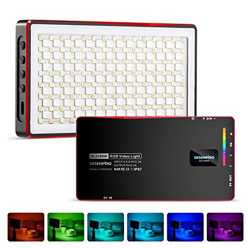 SESENPRO 防水 RGB 撮影用ライト ビデオライト 撮影照明ライト2500K-8500K CRI 97+ 360°フルカラー Type-C充電式 4400mAh 20モード照明効果 磁吸型LEDライト 生放送、YouTube、商品撮影、ビデオ撮影、動画撮影に適用