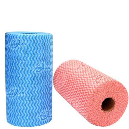 JEBBLAS 2 Rollen Wischtücher auf Rolle mit je 100 Wischtüchern (insg. 200 Wischtücher rot&blau)