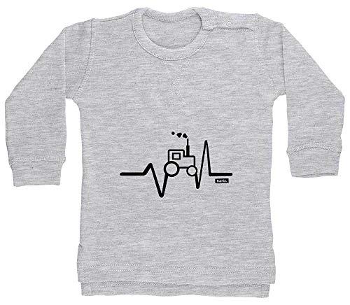 HARIZ Pull en forme de cœur pour enfant avec tracteur et chemin de fer et carte cadeau gris Crayon gris. 6-12 mois