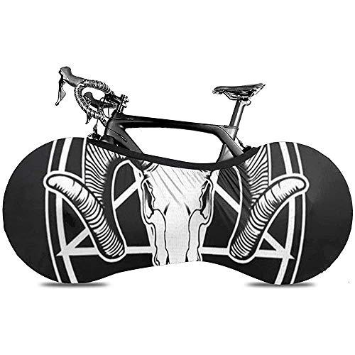 Cubierta de Rueda de Bicicleta, Cubierta de Bicicleta - Silver Ram Satan Cabra Cráneo Anatomía Animal Hermoso Hueso Negro Muerto Muerte