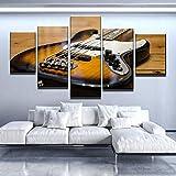 COCOCI Lienzo 5 Piezas Guitars Musical Instrument Lienzos Decorativos Cuadros Grandes Baratos Cuadros Decoracion Cuadros para Dormitorios Modernos Cuadros Decoracion Regalos Personalizados