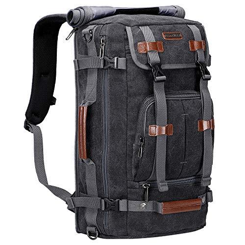 WITZMAN Canvas Backpack Vintage Travel Backpack Large Laptop Bags Convertible Shoulder Rucksack (A519-1 Black)
