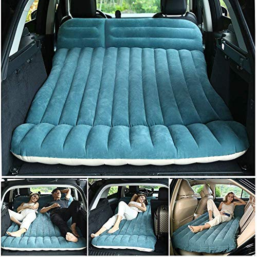 SUV Car Air Mattress, WEY&FLY Thickened and Lengthened Flocking Travel Mattress Camping Air Bed Dedicated Mobile Cushion Extended Outdoor Sleeping Blow Up Pad with 2 Piers for CAR MPV SUV
