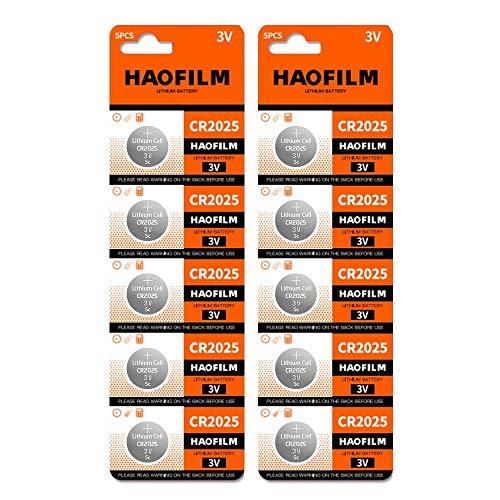 HAOFILM CR2025 Premium 3V Lithium Battery, Coin Cell Batteries-10 Pack