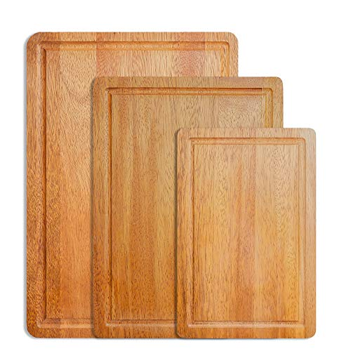 Acacia Wooden Cutting Board Chopping Board (Set of 3) Extra Large for Meat Cheese Bread Vegetables Fruits Thick Wood Charcuterie Serving Tray with Juice Grip Grooves Knife Friendly Butcher Block